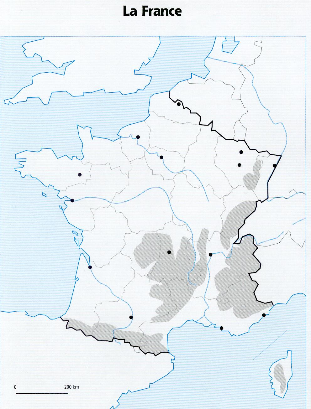 carte de france relief vierge